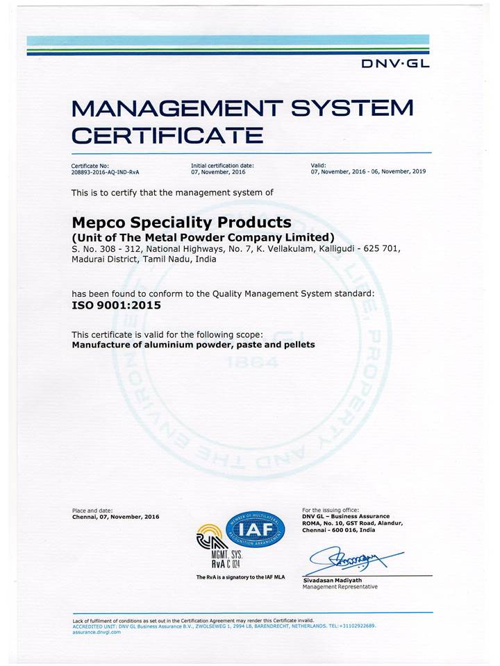 MSP ISO 9001-2015 certification